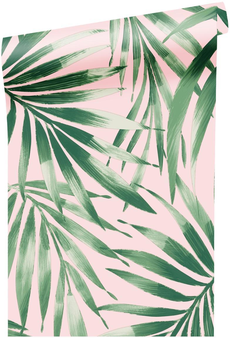 Papel pintado Leaves Blush, Tejido no tejido, Verde, rosa, An 52 x L 1005 cm