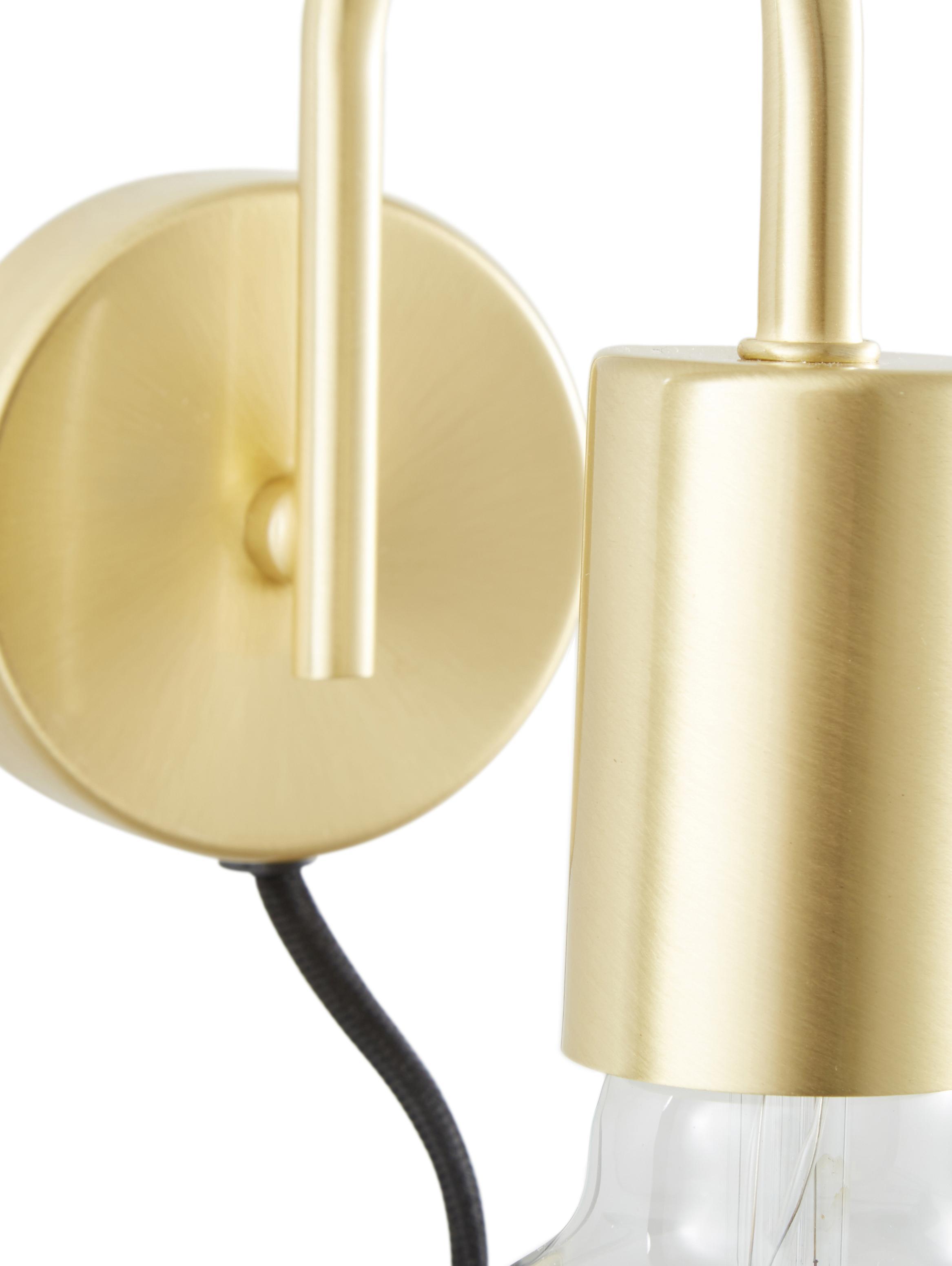 Wandleuchte Flow mit Stecker, Baldachin: Metall, vermessingt, Baldachin: Messing, gebürstetKabel: Schwarz, 8 x 12 cm