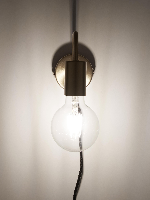 Applique con spina Flow, Baldacchino: metallo ottonato, Baldacchino: ottone spazzolato Cavo: nero, Larg. 8 x Alt. 12 cm