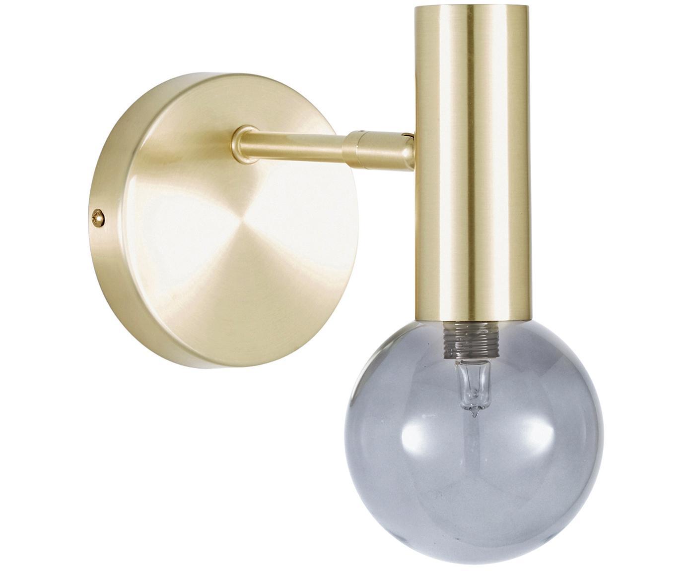 Wandlamp Wilson, Frame: vermessingd metaal, Fitting: vermessingd metaal, Lampenkap: glas, Messingkleurig, Ø 10 x H 22 cm