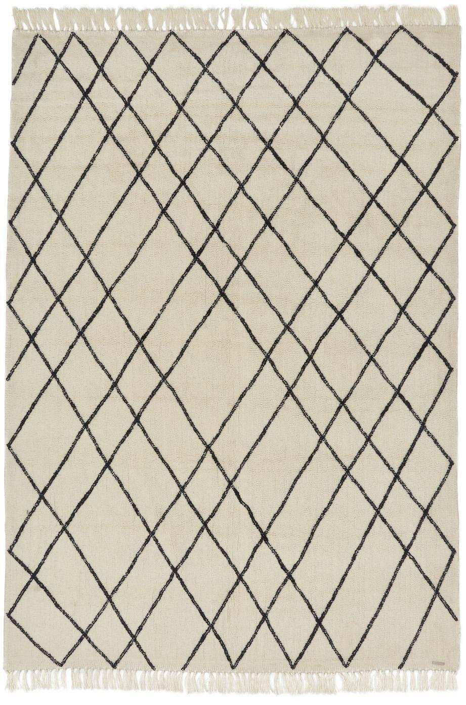 Wollteppich Graphic mit Rautenmuster, Creme, Schwarzes unregelmäßiges Dekor, B 200 x L 300 cm (Größe L)
