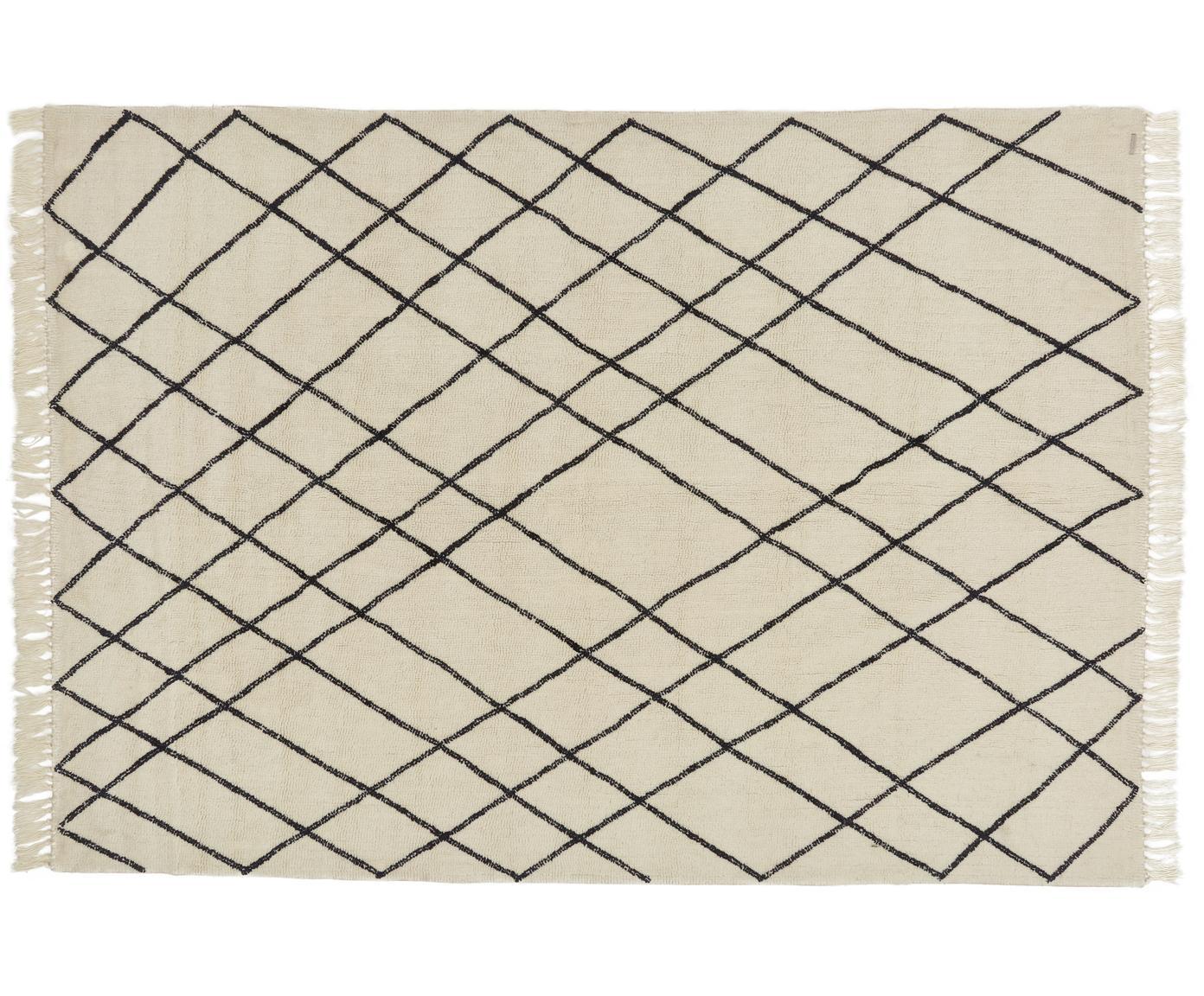Wollen vloerkleed Graphic Nature, Crèmekleurig, zwarte onregelmatige decoratie, 200 x 300 cm