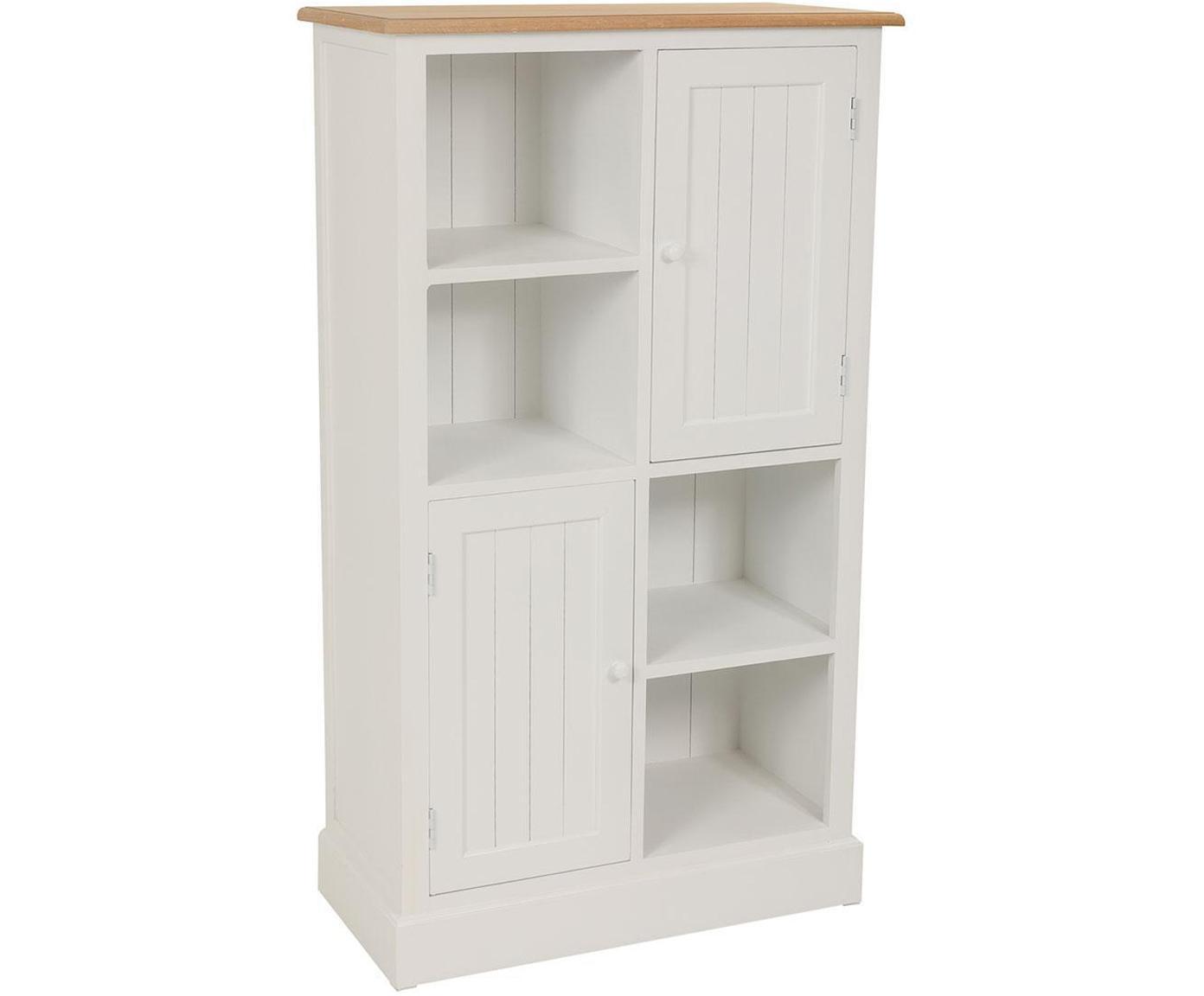 Estantería Noa, Madera de paulownia, Blanco, beige, An 74 x Al 131 cm