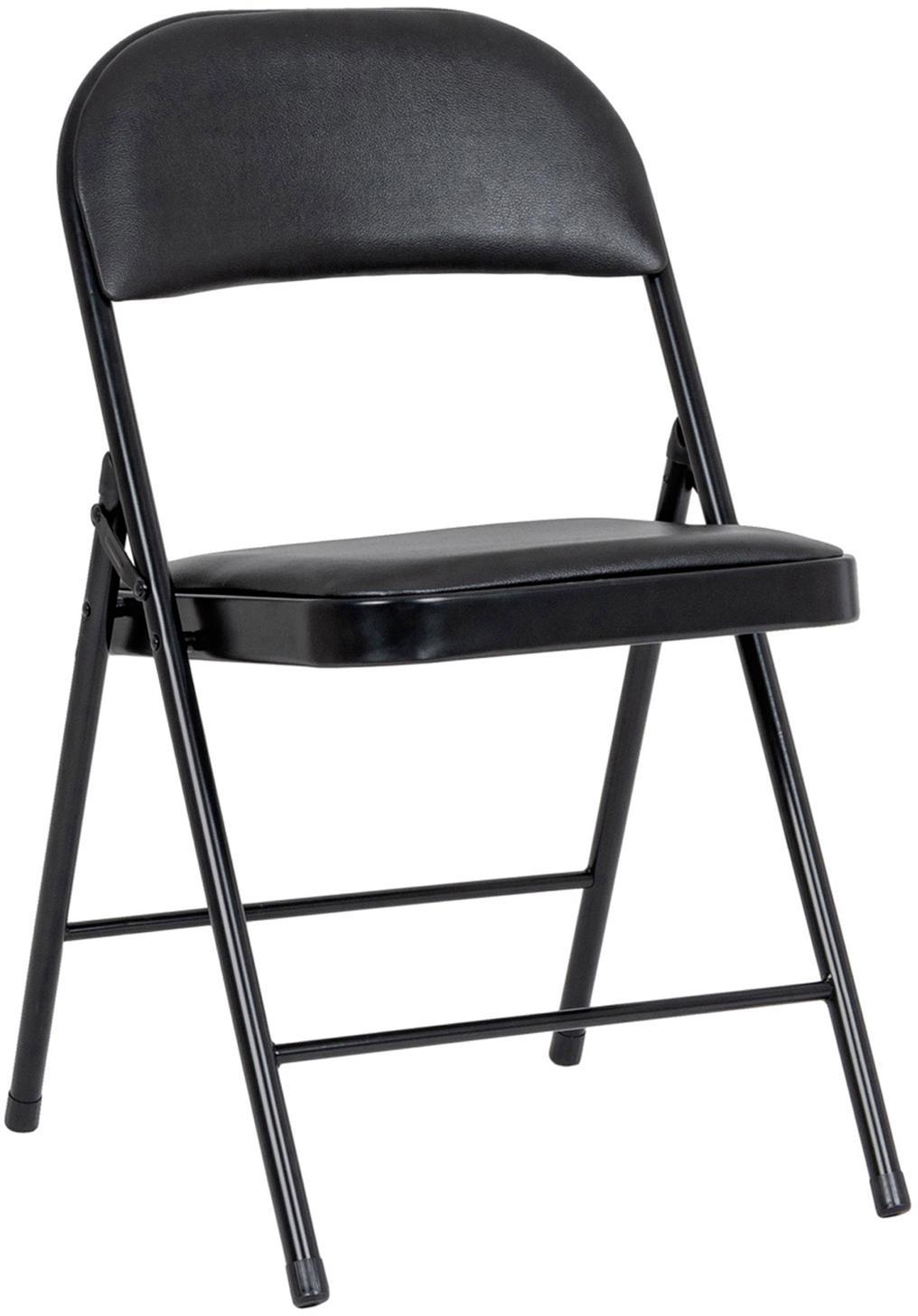 Klapstoelen Felicity, 2 stuks, Frame: gepoedercoat metaal, Zwart, B 45 x D 45 cm