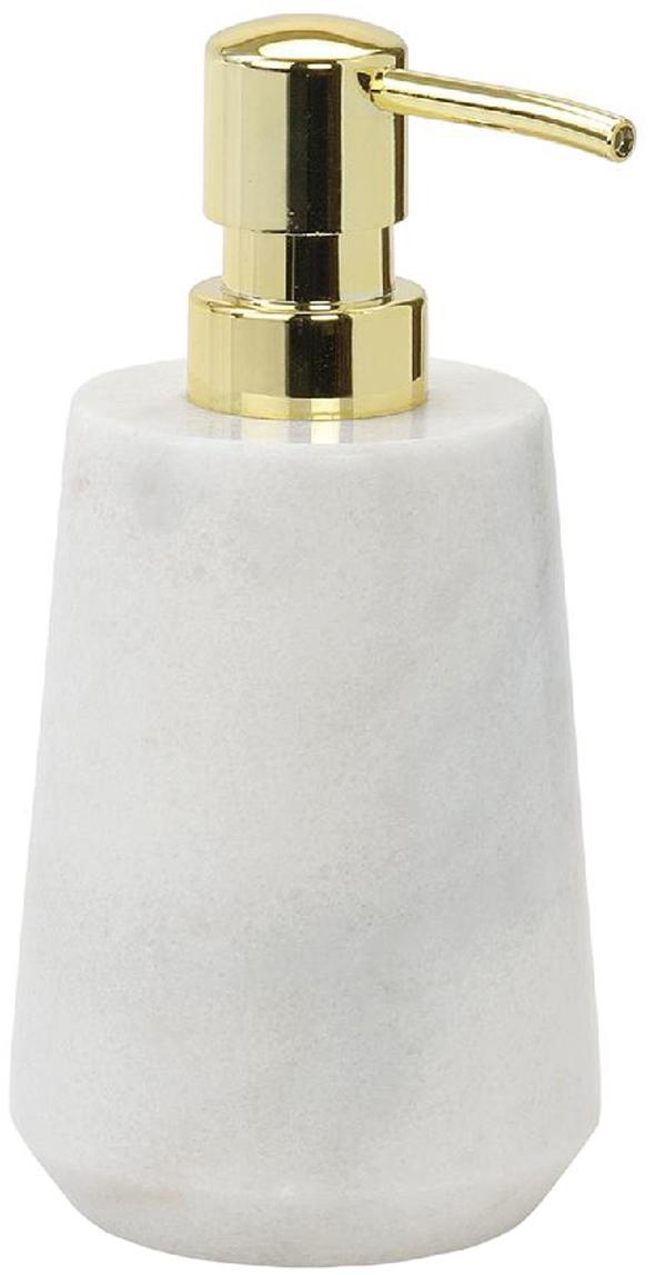 Dosatore di sapone in marmo Lux, Contenitore: marmo, Testa della pompa: materiale sintetico, Bianco, ottone, Ø 9 x Alt. 17 cm