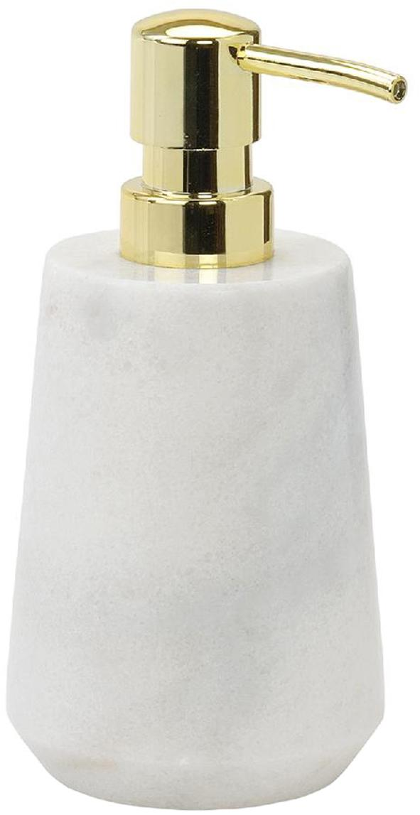 Marmor-Seifenspender Lux, Behälter: Marmor, Pumpkopf: Kunststoff, Weiß, Messingfarben, Ø 9 x H 17 cm