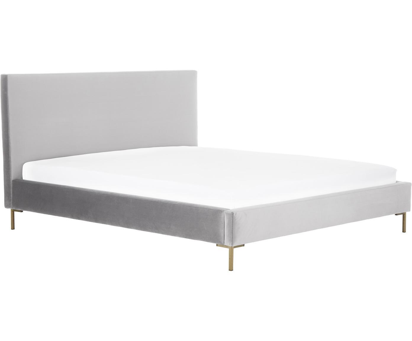 Gestoffeerd fluwelen bed Peace, Frame: massief grenenhout, Poten: gepoedercoat metaal, Bekleding: polyester fluweel, Fluweel lichtgrijs, 140 x 200 cm