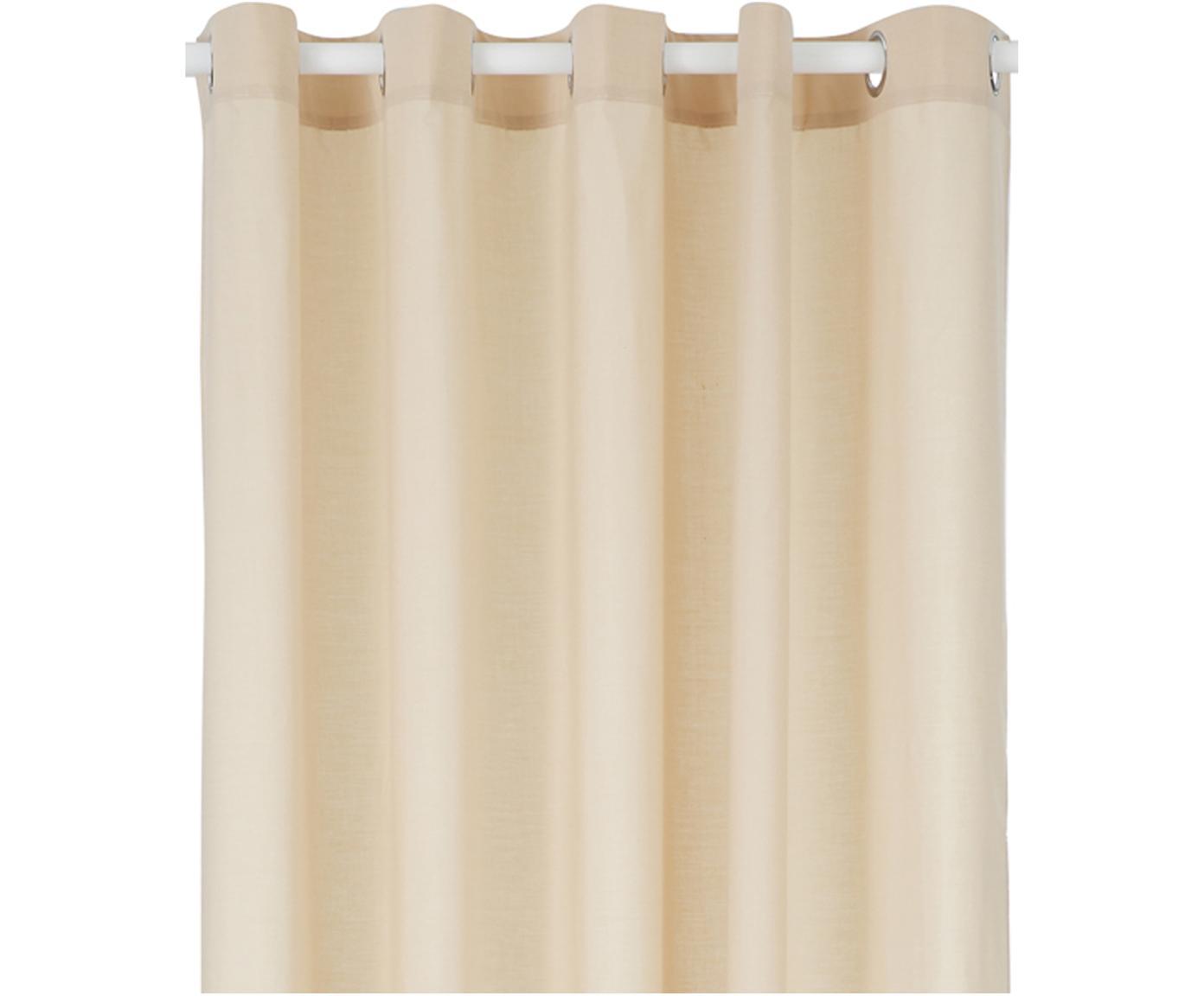 Tenda da doccia in cotone Coloris, 67% poliestere, 33% cotone Idrorepellente, non impermeabile, Beige, Larg. 180 x Lung. 200 cm