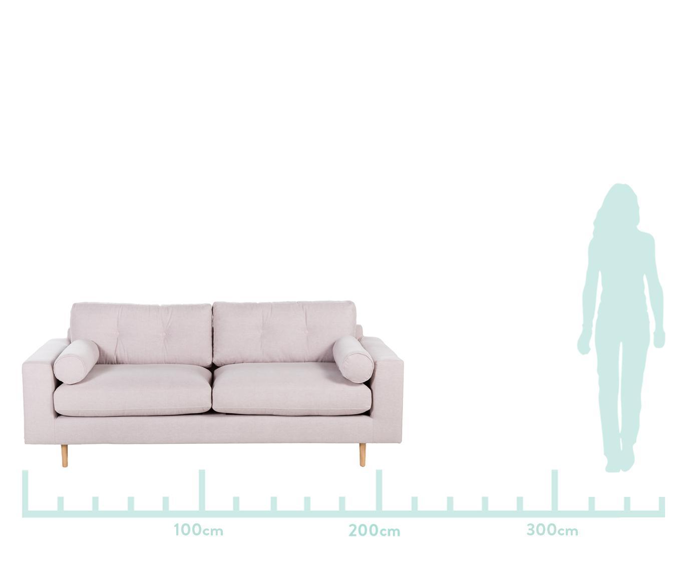 Sofa Biki Retro (3-osobowa), Tapicerka: 60%bawełna, 40%len 250, Nogi: drewno dębowe, lite, olej, Jasny różowy, S 214 x G 90 cm