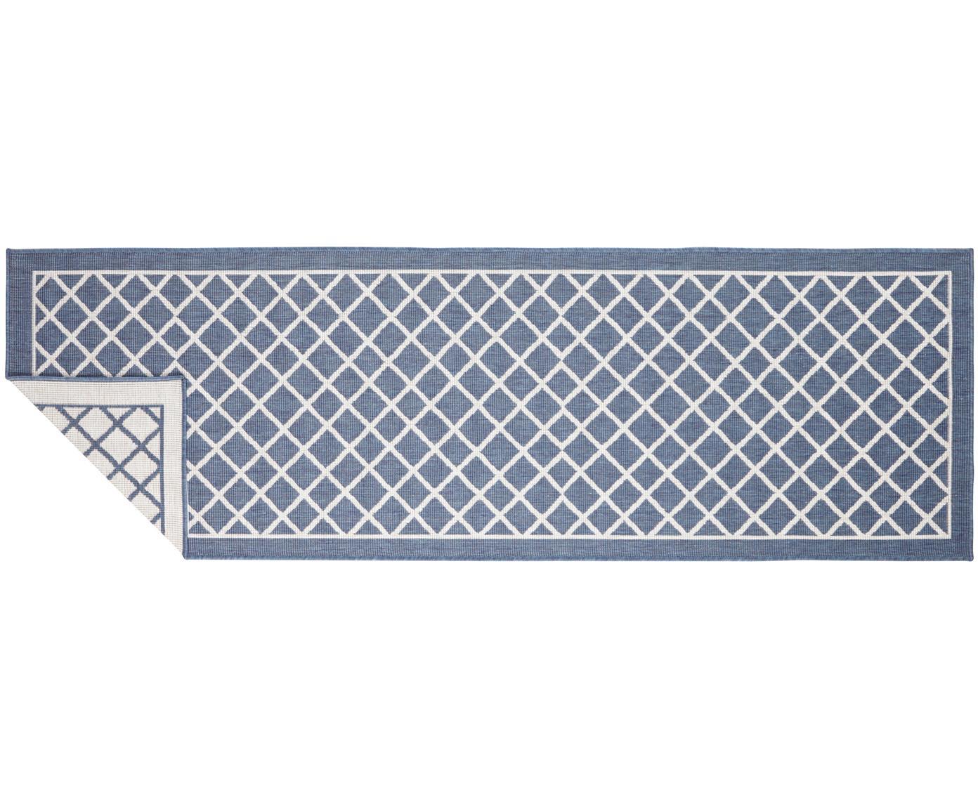 Alfombra reversible de interior y exterior Sydney, Azul, crema, An 80 x L 250 cm