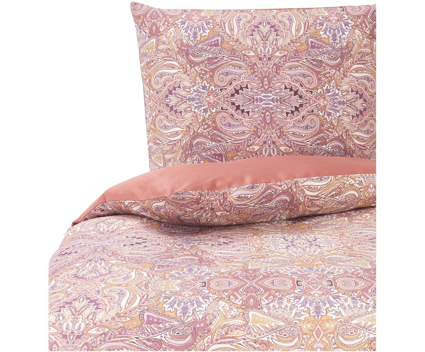 Baumwollsatin-Bettwäsche Boheme, Webart: Satin Fadendichte 200 TC,, Rosa- und Lilatöne, Orange, Weiß, 135 x 200 cm + 1 Kissen 80 x 80 cm