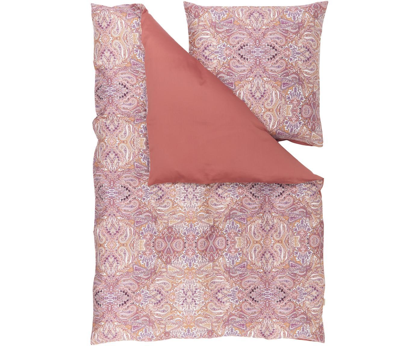 Baumwollsatin-Bettwäsche Boheme, Webart: Satin Fadendichte 200 TC,, Rosa- und Lilatöne, Orange, Weiß, 200 x 200 cm + 2 Kissen 80 x 80 cm