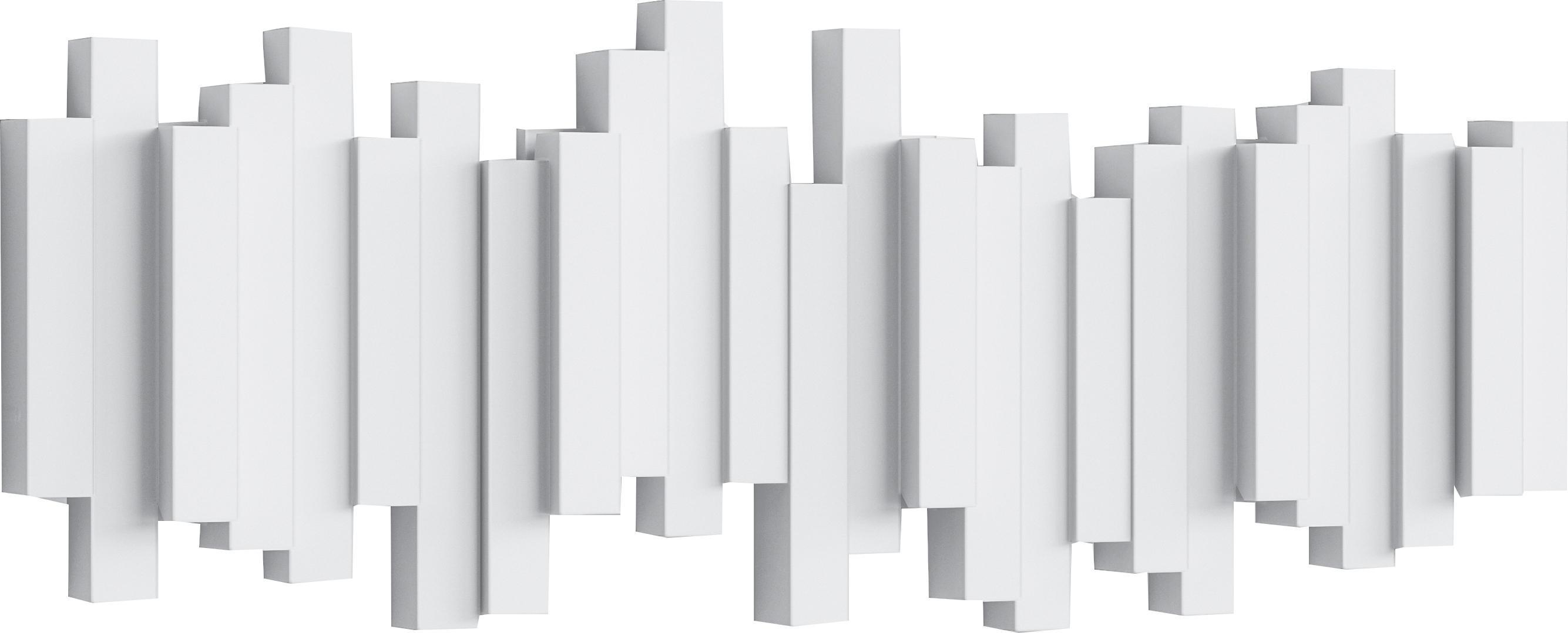 Wandkapstok Sticks, Kunststof, Wit, 48 x 18 cm