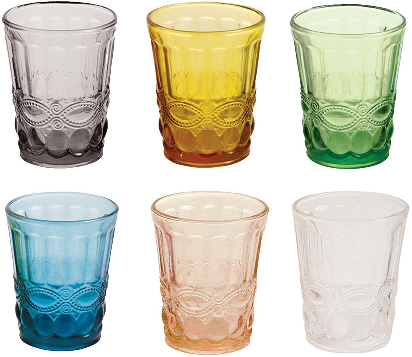 Waterglazenset Nobilis, 6-delig, Glas, Multicolour, Ø 8 x H 10 cm