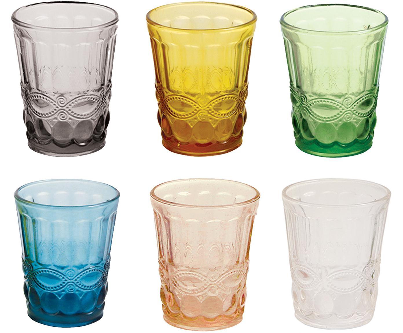 Wassergläser-Set Nobilis in Bunt mit dekorativem Reliefmuster, 6er-Set, Glas, Mehrfarbig, Ø 8 x H 10 cm