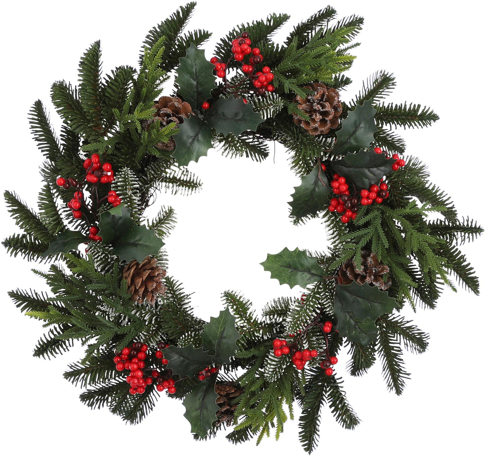 Künstlicher Weihnachtskranz Patton, Kunststoff, Grün, Rot, Braun, Ø 50 cm