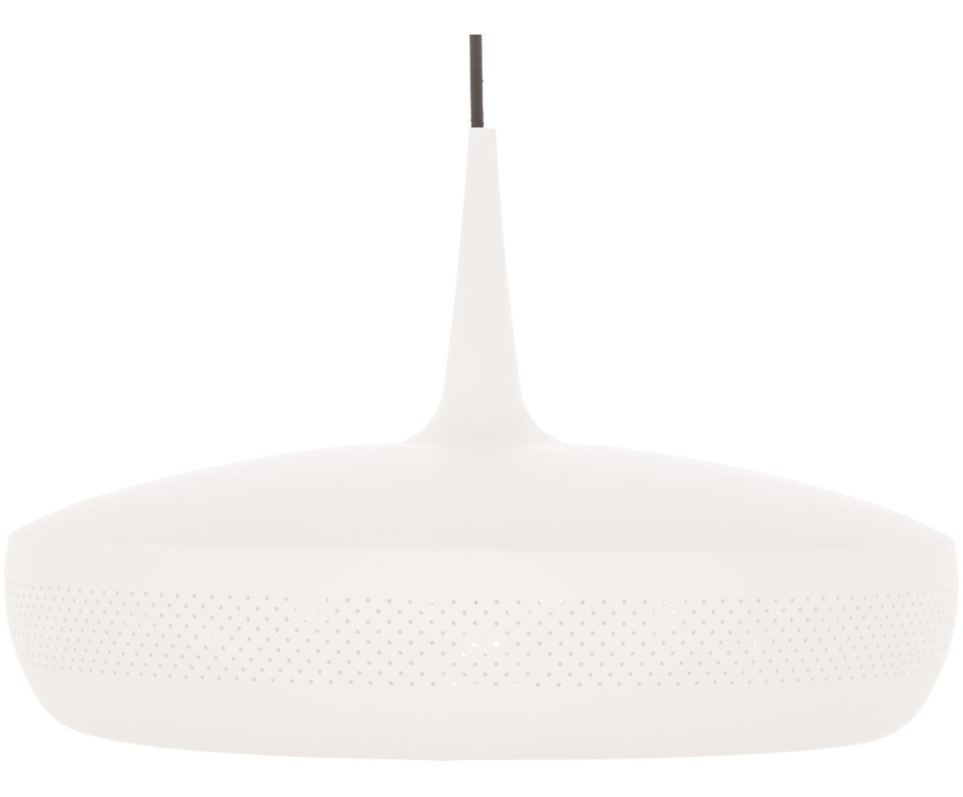 Lámpara de techo Clava Dine, Pantalla: aluminio recubierto, Cable: tela, plástico, Blanco mate, Ø 43 x Al 28 cm