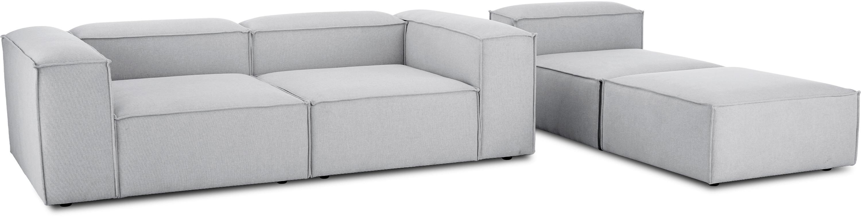 Canapé d'angle modulable dossier bas Lennon, Tissu gris clair
