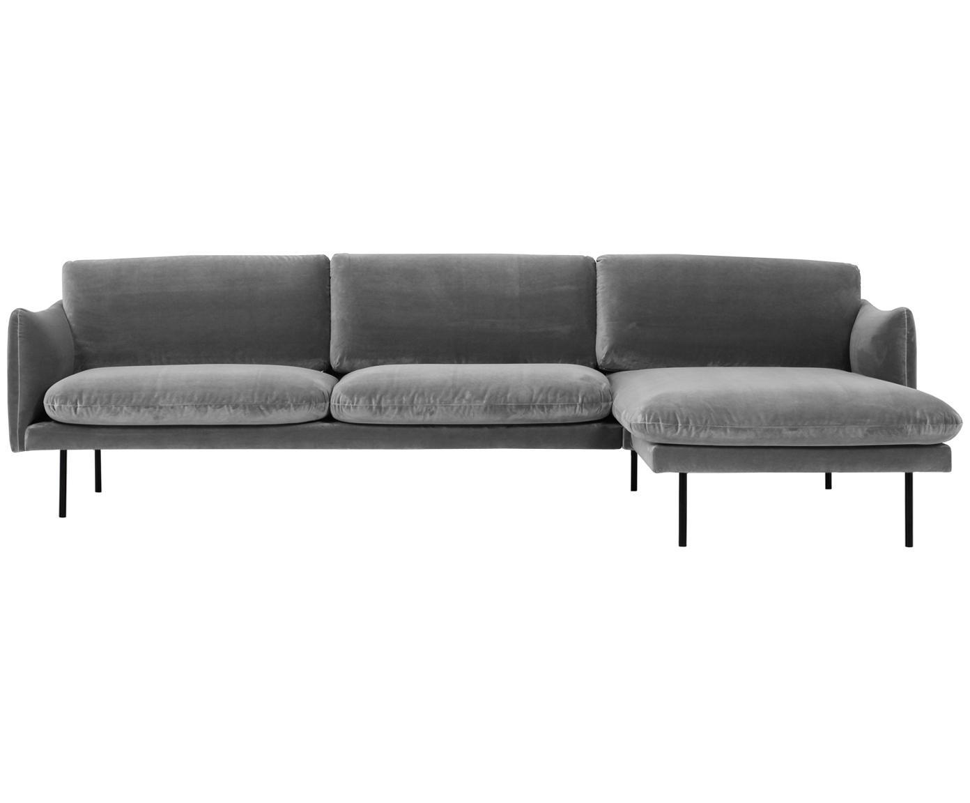 Fluwelen hoekbank Moby, Bekleding: fluweel (hoogwaardige pol, Frame: massief grenenhout, Poten: gepoedercoat metaal, Grijs, B 280 x D 160 cm