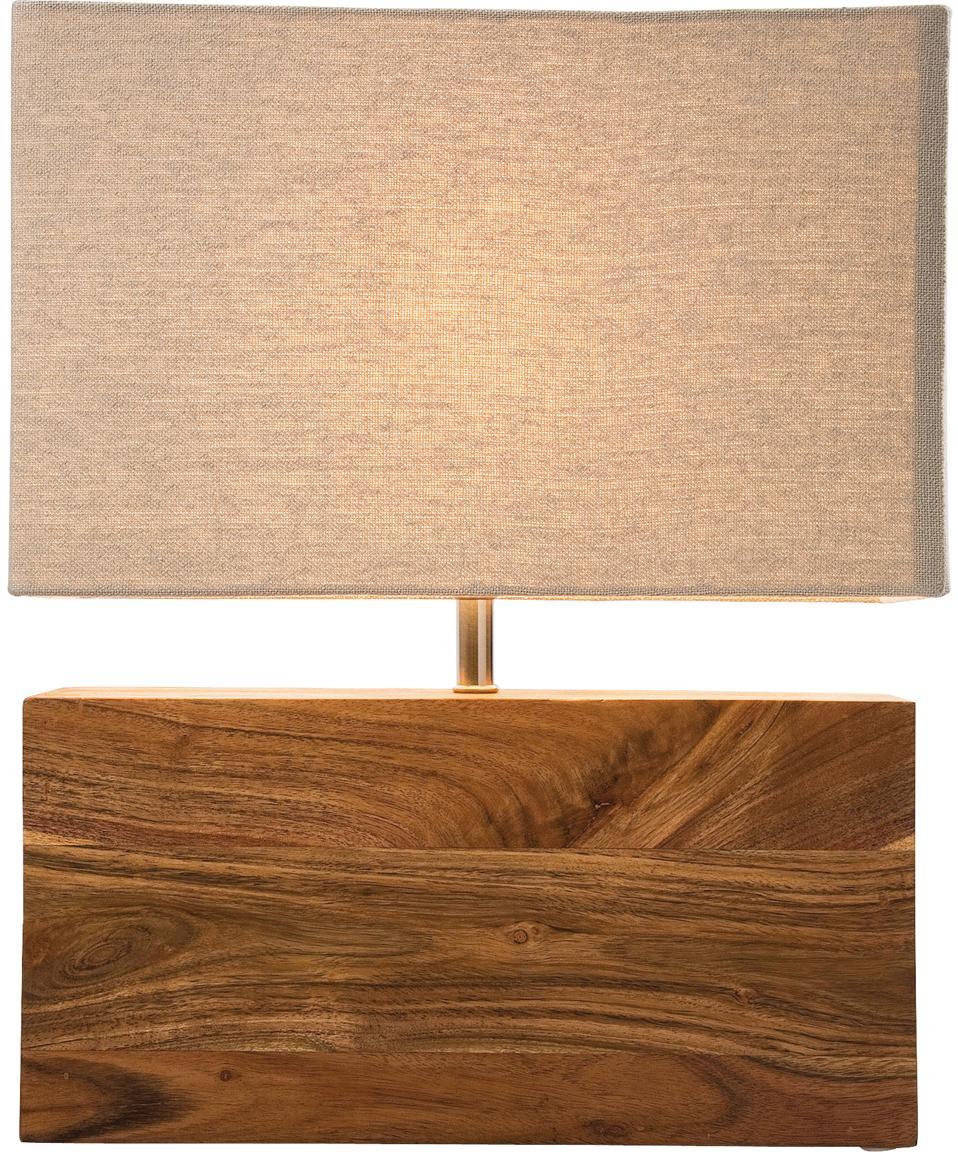 Tafellamp Rectangular, Acaciahout, staal, katoen, Bruin, 33 x 43 cm