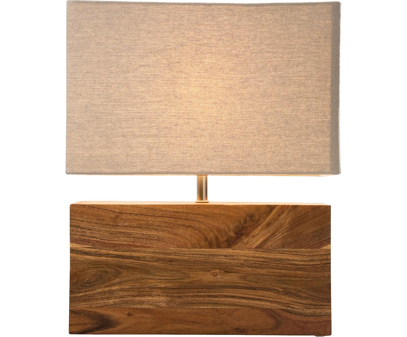 Lampada da tavolo in legno di acacia Rectangular, Legno d'acacia, acciaio, cotone, Legno di quercia, Larg. 33 x Alt. 43 cm