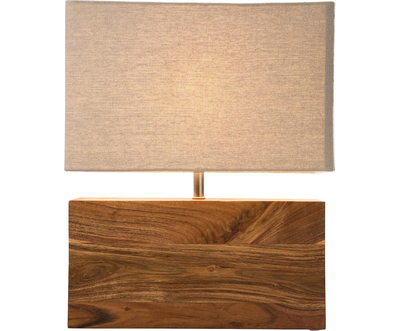 Lámpara de mesa de madera Rectangular, Madera de acacia, acero, algodón, Marrón, An 33 x Al 43 cm