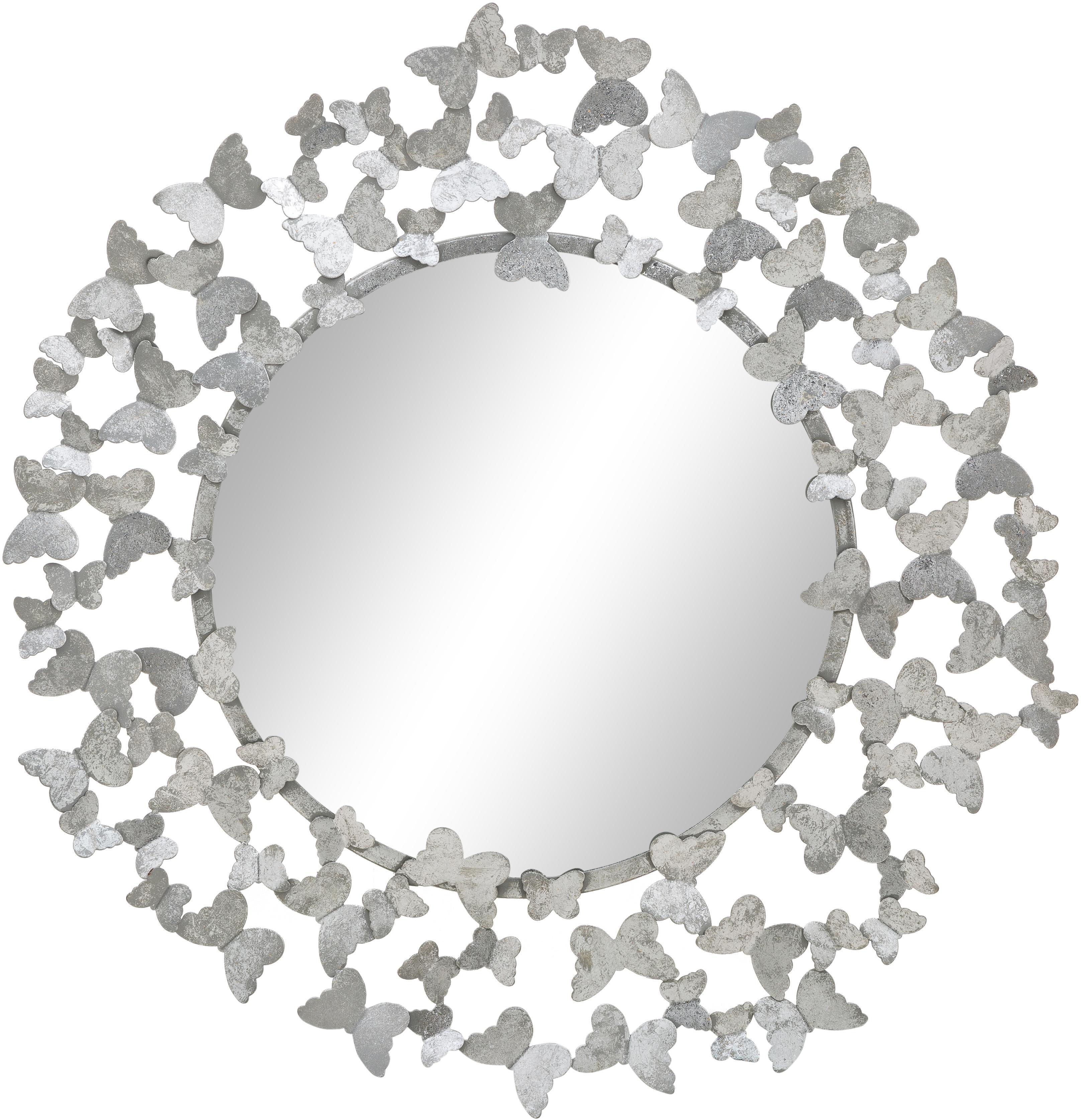 Lustro ścienne Butterfly, Odcienie srebrnego, Ø 67 cm
