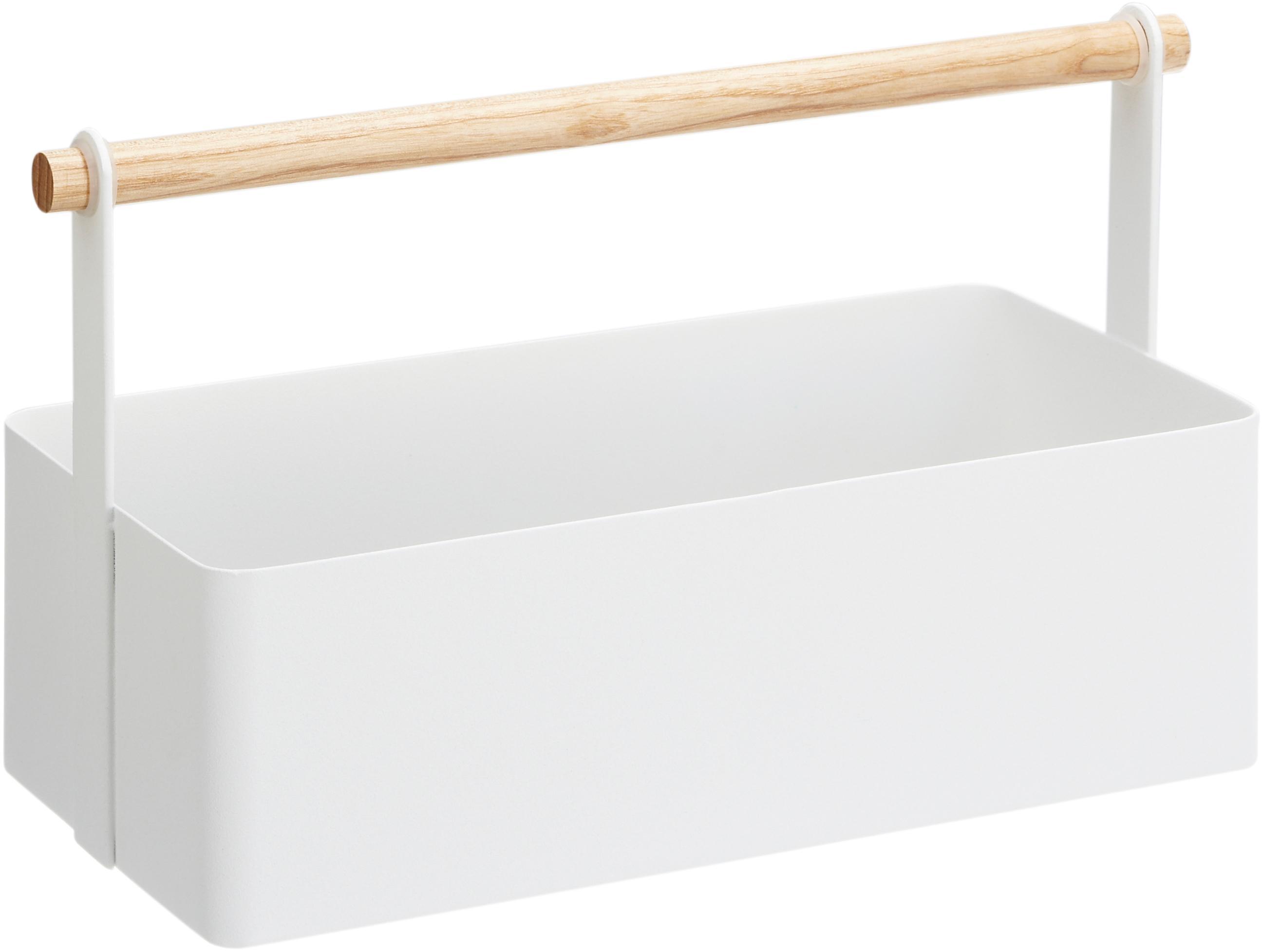 Aufbewahrungskorb Tosca, Box: Stahl, lackiert, Griff: Holz, Weiss, Braun, 29 x 16 cm