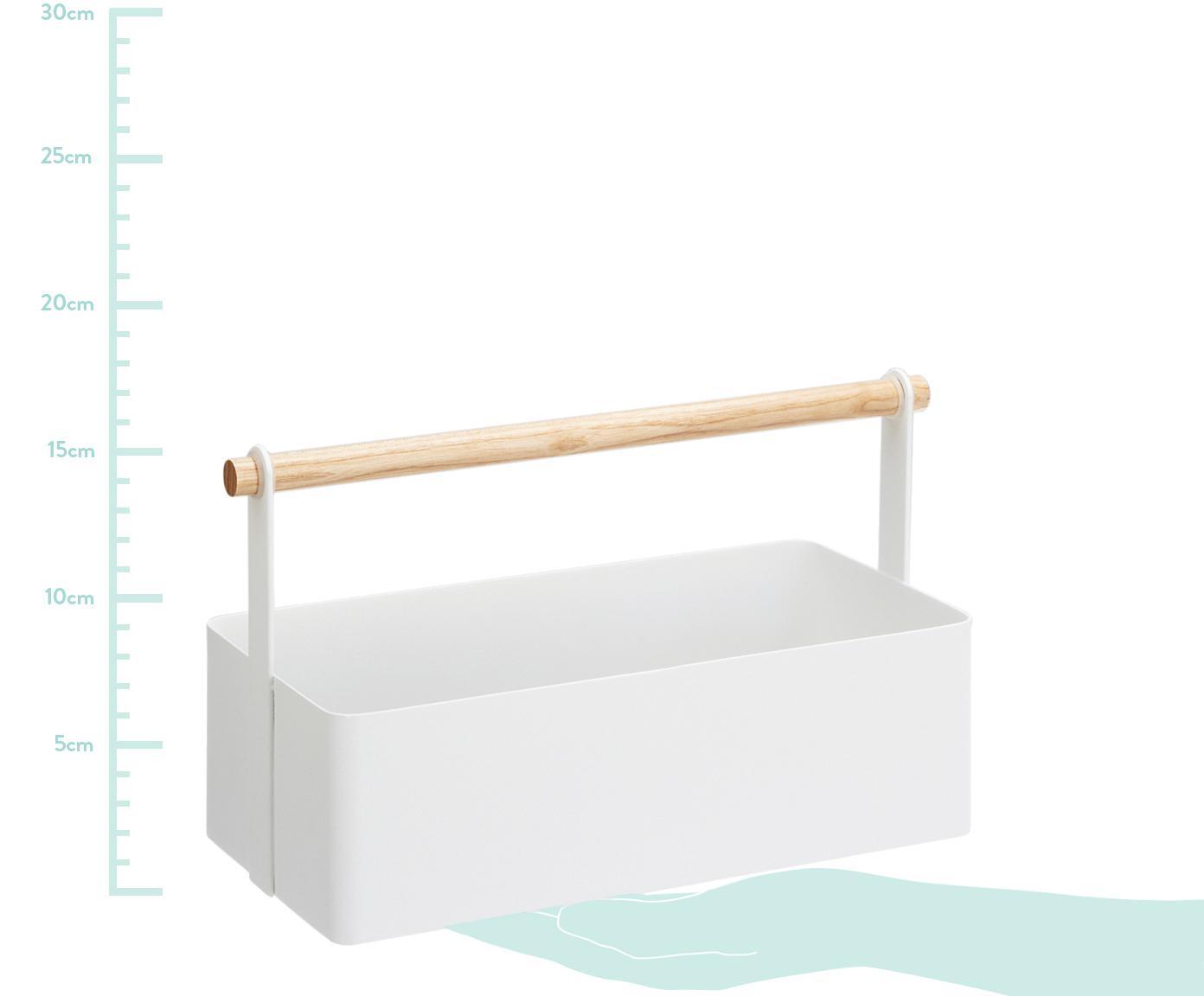 Aufbewahrungskorb Tosca, Box: Stahl, lackiert, Griff: Holz, Weiß, Braun, 29 x 16 cm