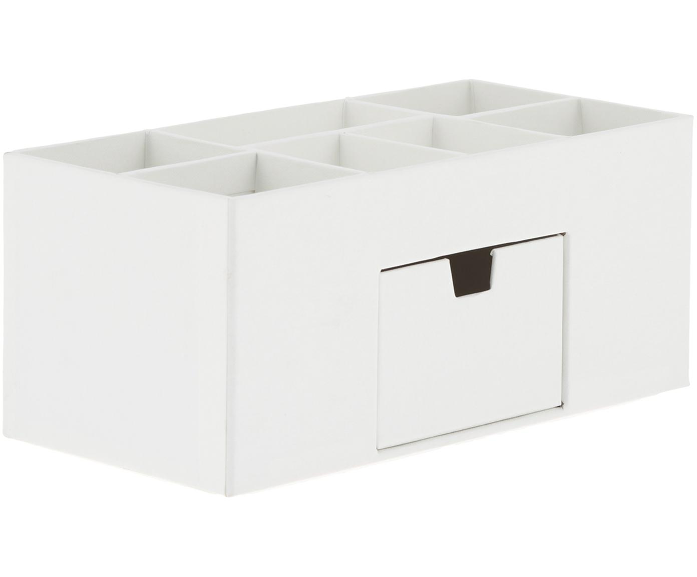 Organizer da ufficio Vendela, Cartone solido e laminato, Bianco, Larg. 24 x Alt. 11 cm