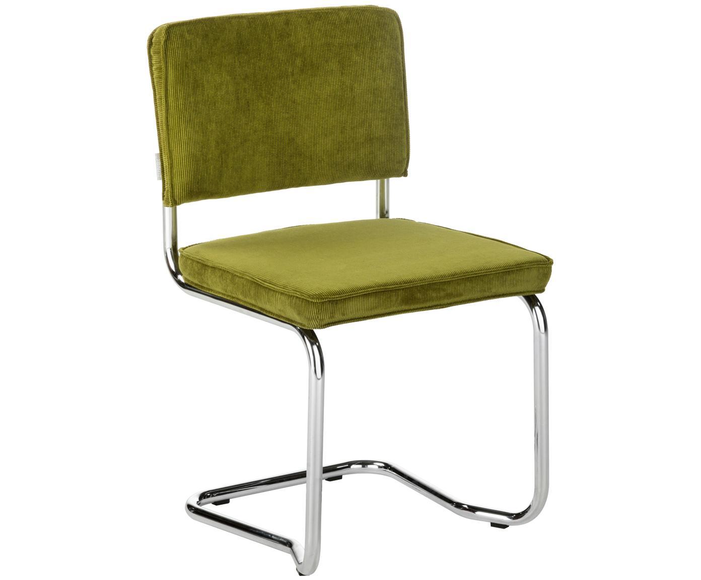 Cantilever stoel Ridge Kink Chair, Bekleding: 88% nylon, 12% polyester, Frame: verchroomd metaal, Groen, 48 x 85 cm