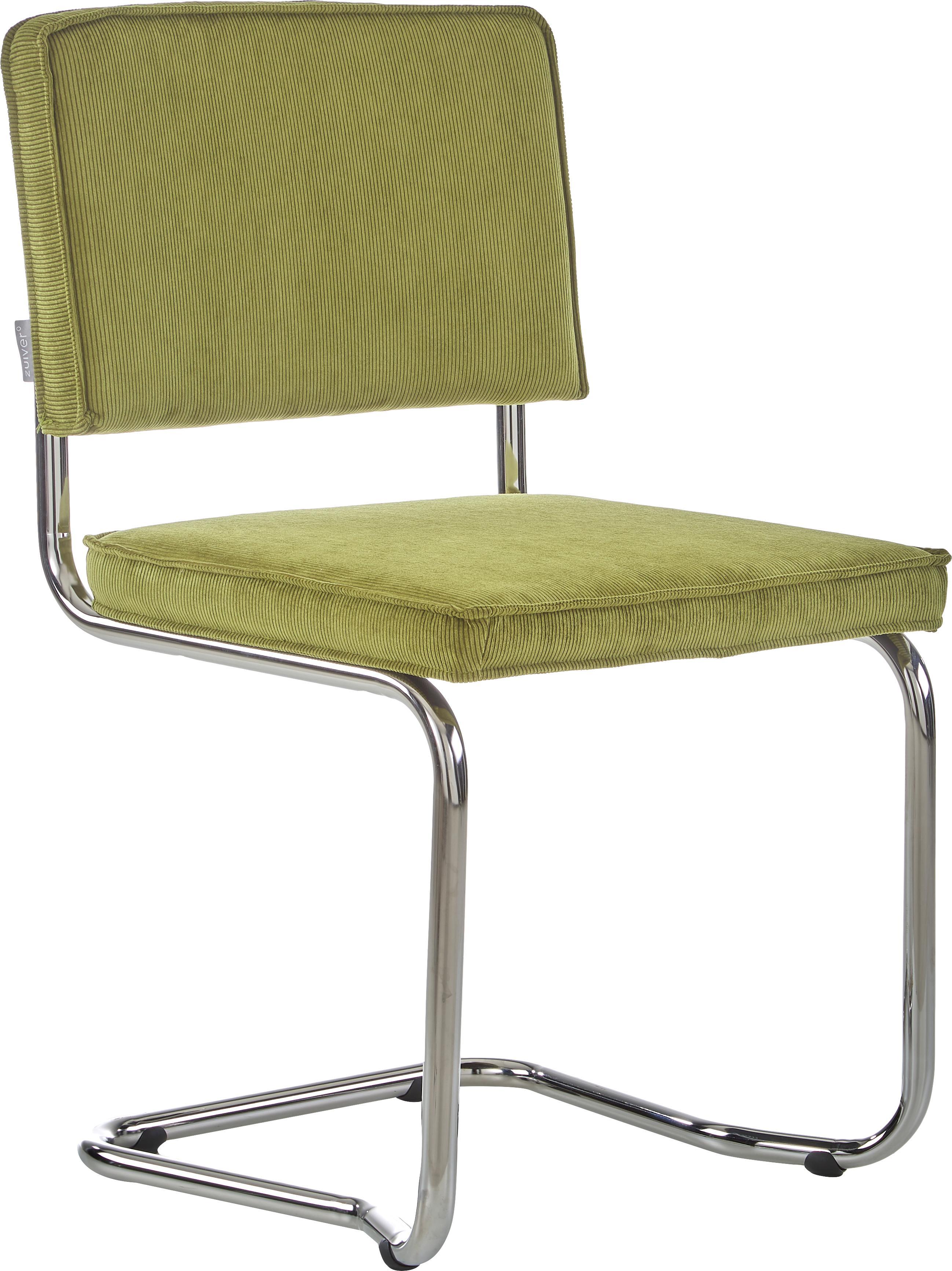 Silla cantilever Ridge Kink Chair, Tapizado: 88%nylon, 12%poliéster, Estructura: metal, cromado El tapizad, Verde, An 48 x Al 85 cm