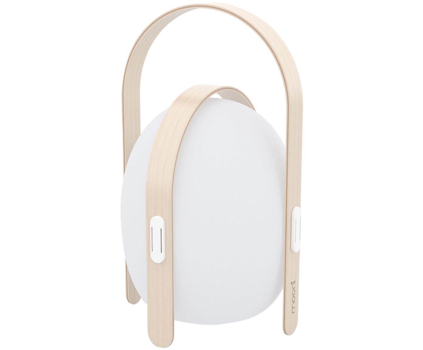 Mobiele outdoor LED lamp Ovo, Lampenkap: kunststof, Frame: iepenhout met berkenhoutf, Wit, lichtbruin, Ø 24 x H 39 cm