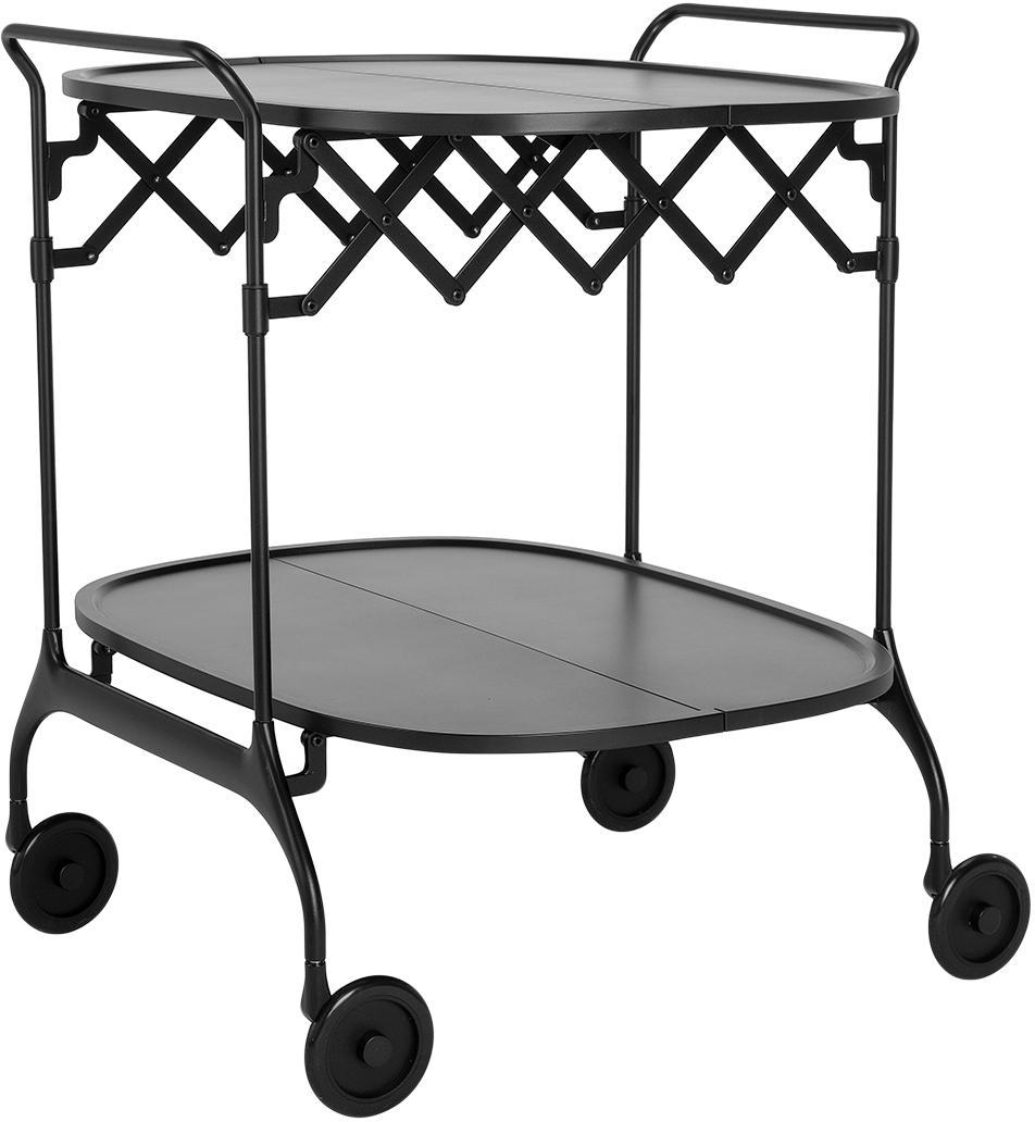 Metalen bar cart Gastone, Frame: gelakt metaal, Zwart, 68 x 70 cm