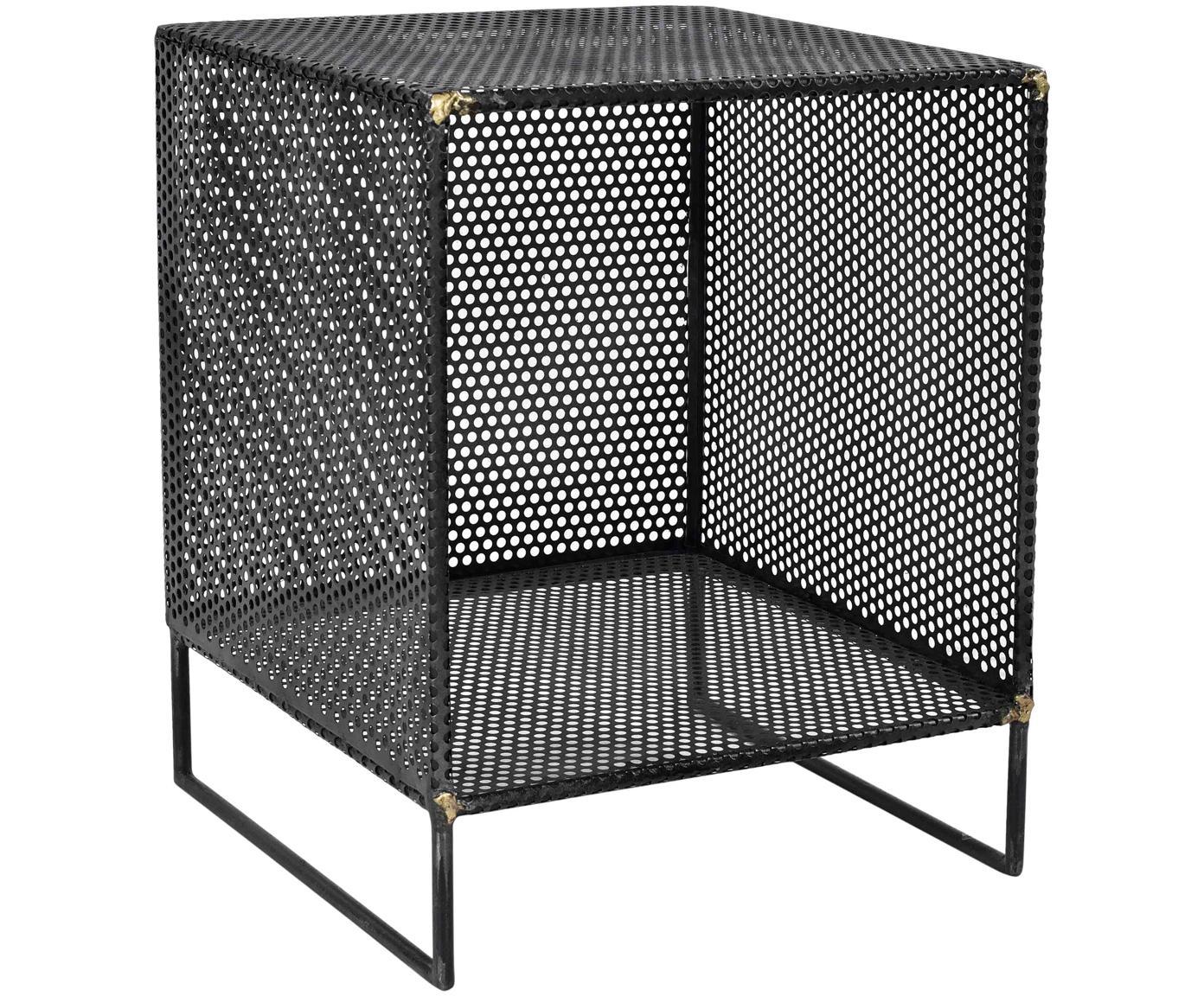 Mesa auxiliar de metal Loft, Metal perforado, con soldaduras de latón visibles, Negro, An 40 x Al 50 cm