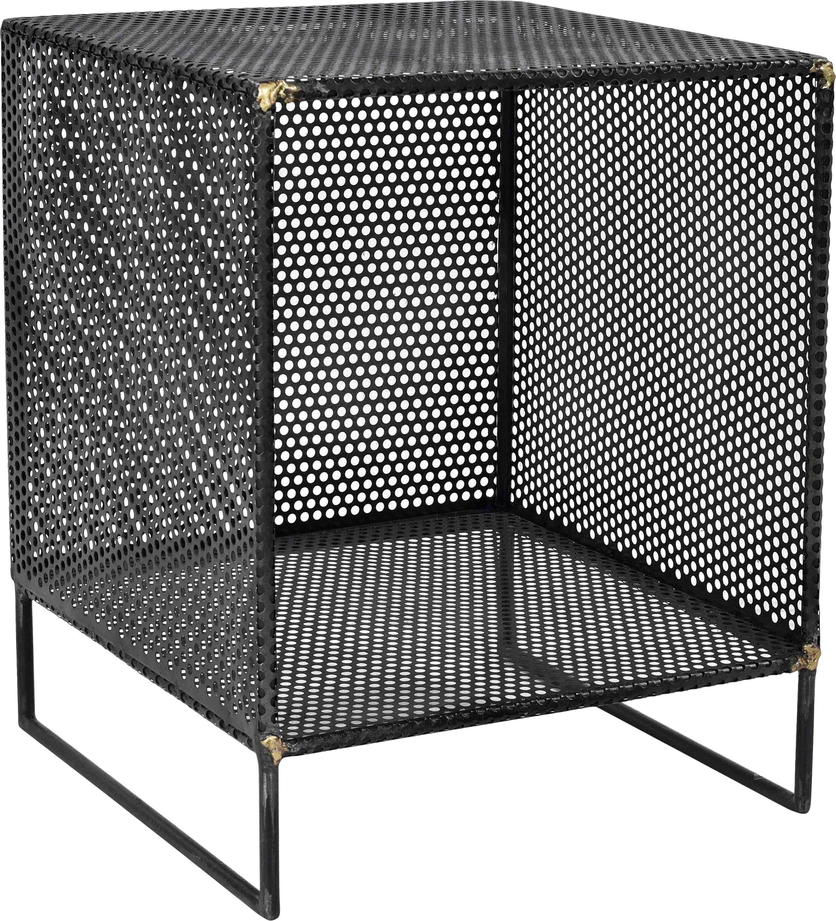 Tavolino in metallo Loft, Metallo, grossolamente perforato con saldature di ottone visibili, Nero, Larg. 40 x Alt. 50 cm