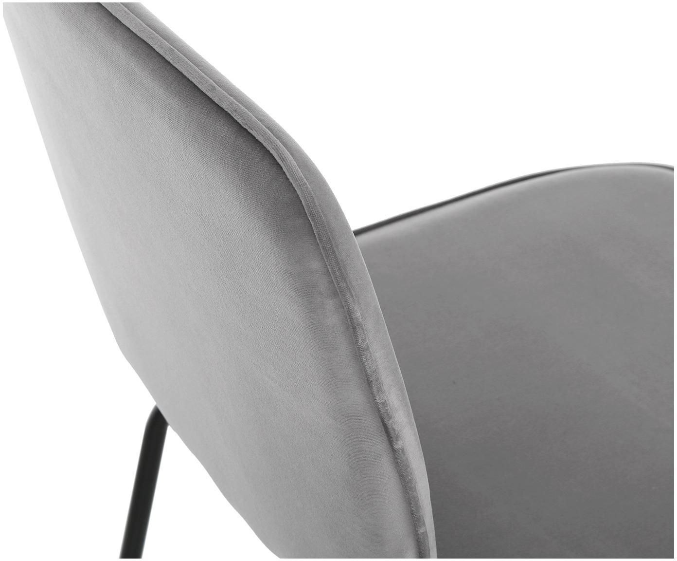 Krzesło tapicerowane z aksamitu Jasper, 2 szt., Tapicerka: aksamit (wysokiej jakości, Nogi: metal malowany proszkowo, Szary, S 49 x G 57 cm