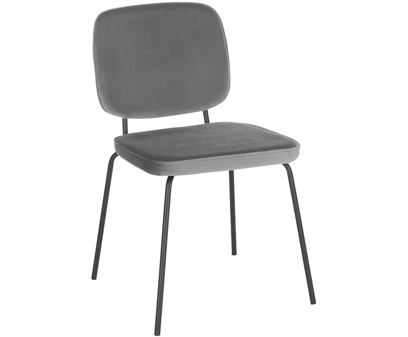Fluwelen stoelen Jasper, 2 stuks, Bekleding: fluweel (hoogwaardig poly, Poten: gepoedercoat metaal, Grijs, B 49 x D 57 cm
