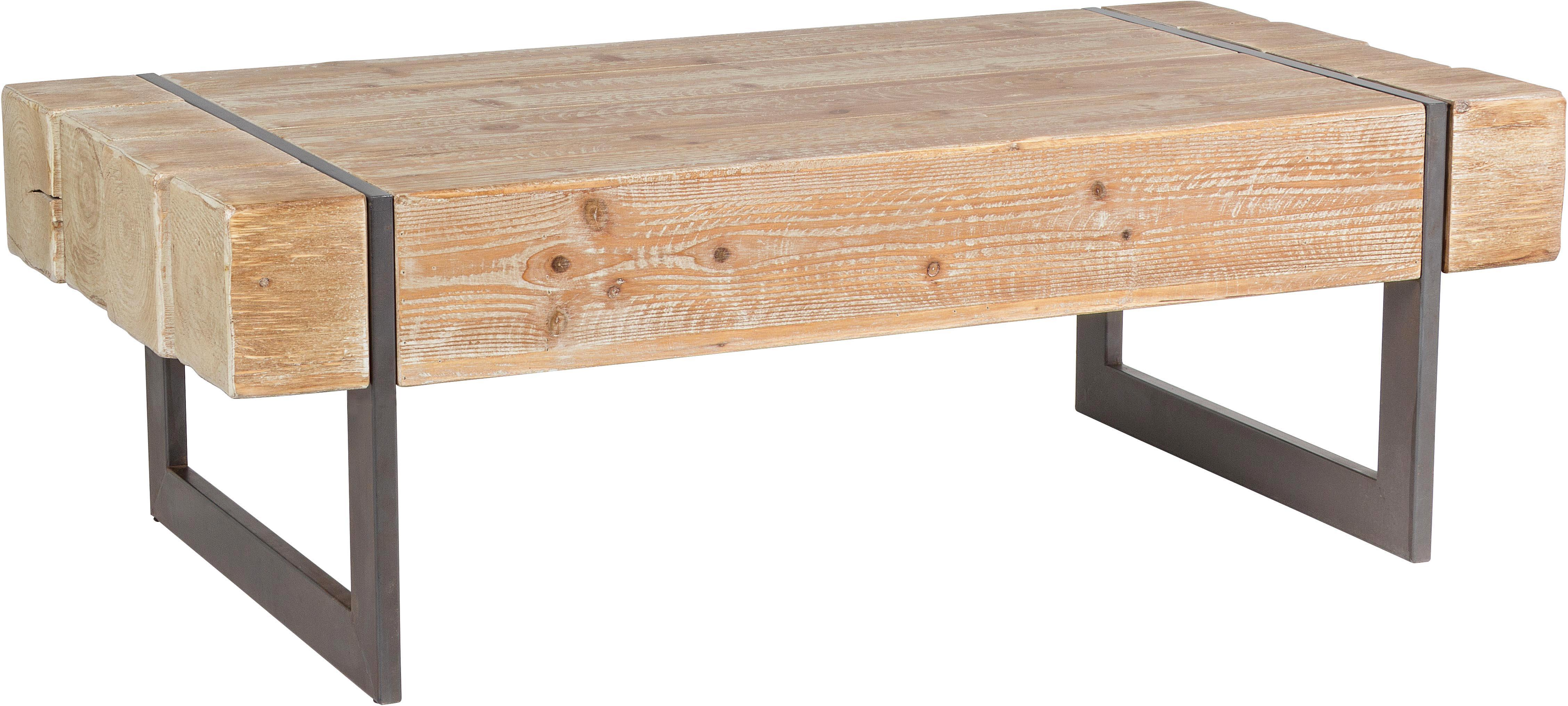 Mesa de centro Garrett, Metal, madera, Beige, gris, An 120 x Al 40 cm