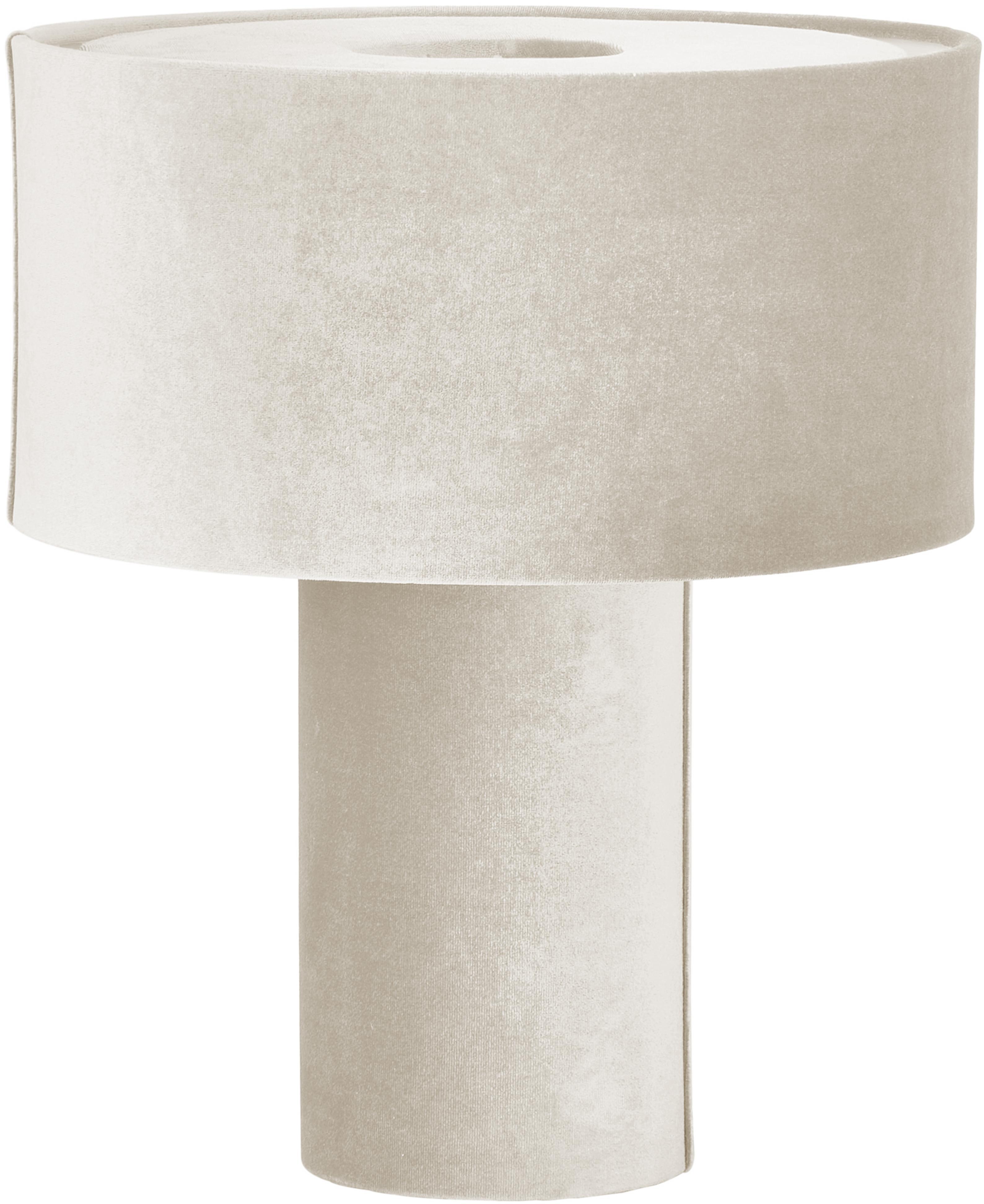 Fluwelen tafellamp Frida, Lampvoet: kunststof met fluwelen be, Lampenkap: fluweel, Diffuser: fluweel, Lichtgrijs, Ø 30 x H 36 cm