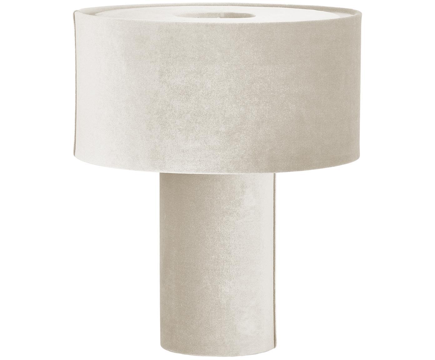 Lámpara de mesa de terciopelo Frida, Pantalla: terciopelo, Cable: cubierto en tela, Beige, Ø 30 x Al 36 cm