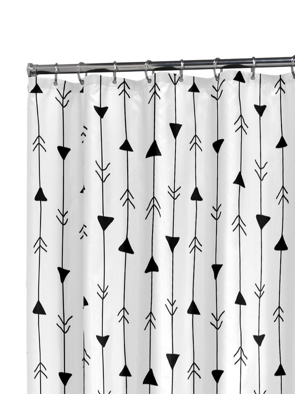 Tenda da doccia a fantasia Katie, Occhielli: metallo, Bianco, nero, Larg. 180 x Lung. 200 cm