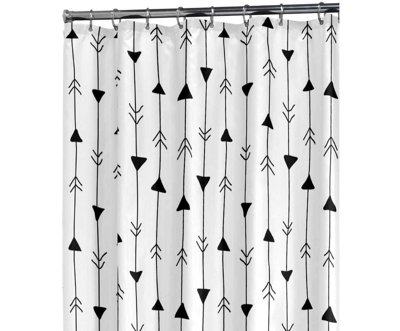 Douchegordijn met patroon Katie, Oogjes: metaal, Wit, zwart, 180 x 200 cm