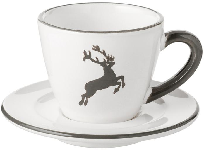 Taza de café artesanal con platito Gourmet Grauer Hirsch, 2pzas., Cerámica, Gris, blanco, 60 ml