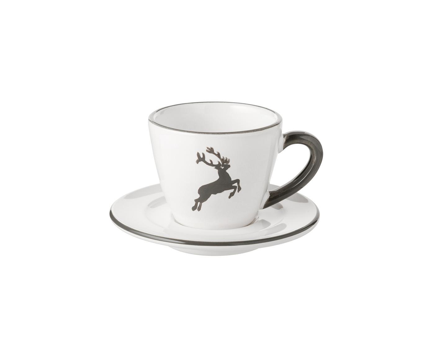Ręcznie malowana filiżanka do espresso Gourmet Grauer Hirsch, 2 elem., Porcelana, porcelana chińska, Szary, biały, 60 ml