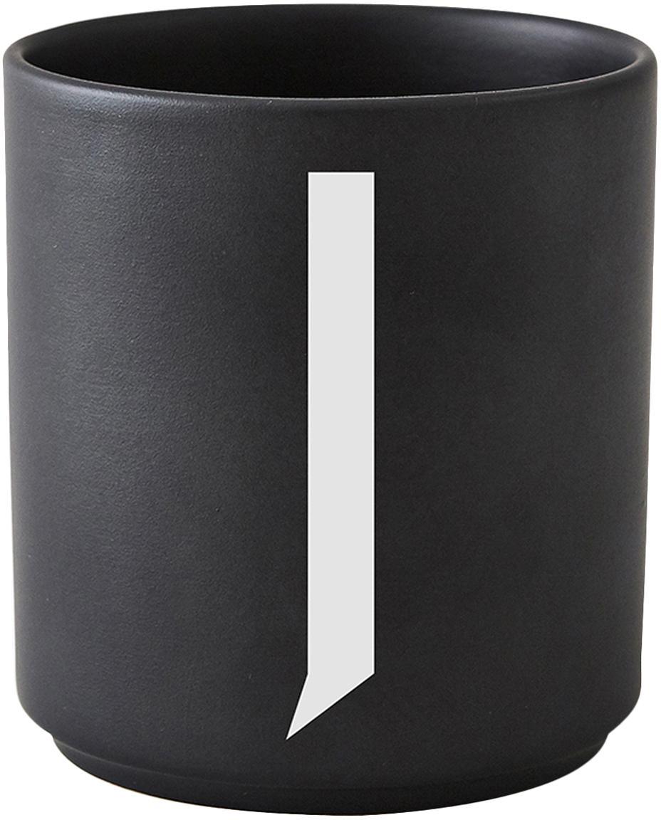 Taza de diseño Personal (variantes de A a Z), Porcelana fina de hueso (porcelana) Fine Bone China es una pasta de porcelana fosfática que se caracteriza por su brillo radiante y translúcido., Negro mate, blanco, Taza J