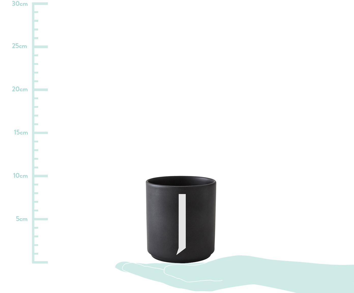Design Becher Personal mit Buchstaben (Varianten von A bis Z), Fine Bone China (Porzellan), Schwarz matt, Weiß, Becher A