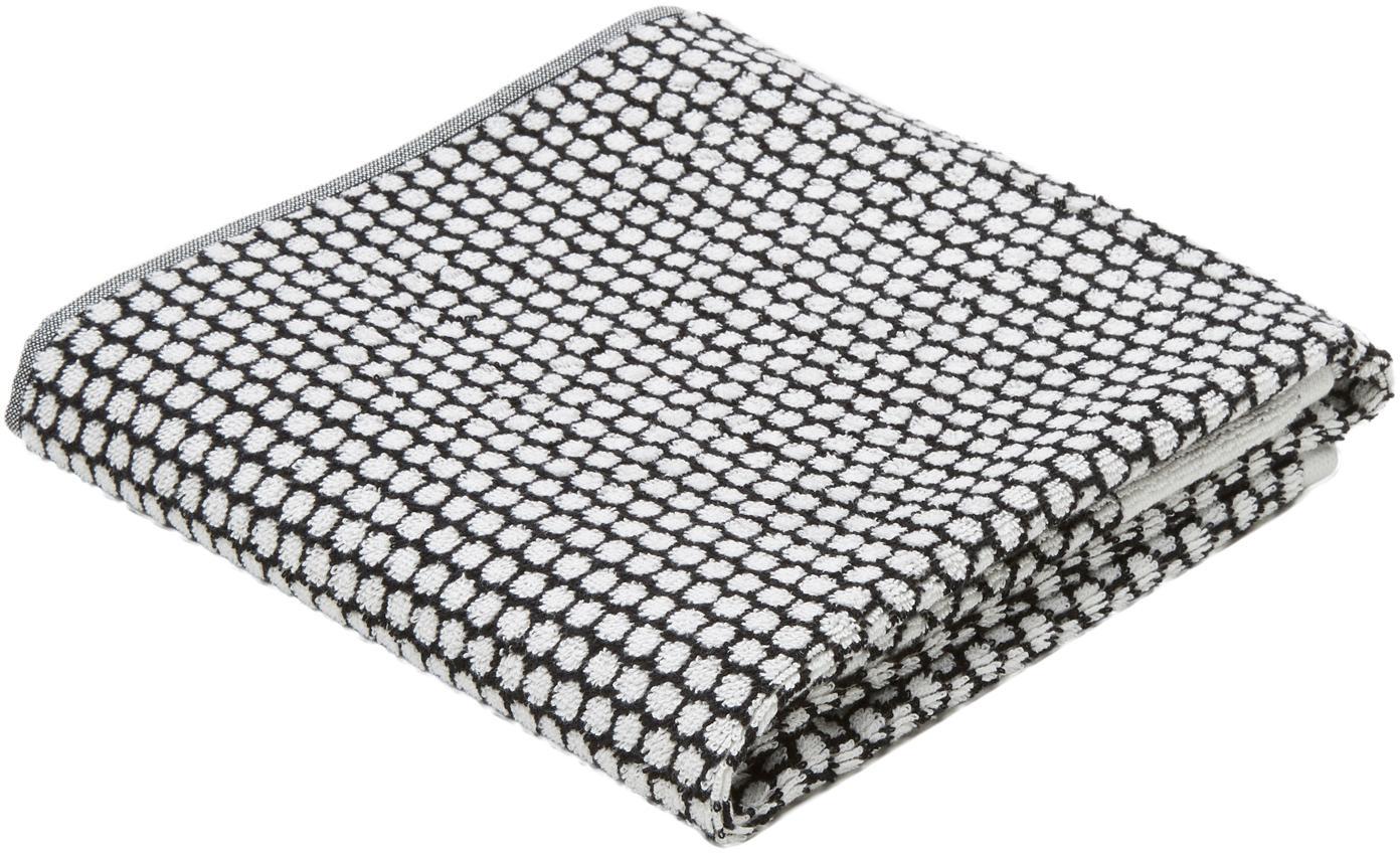 Asciugamano con motivo punteggiato Grid, Nero, bianco latteo, Asciugamano