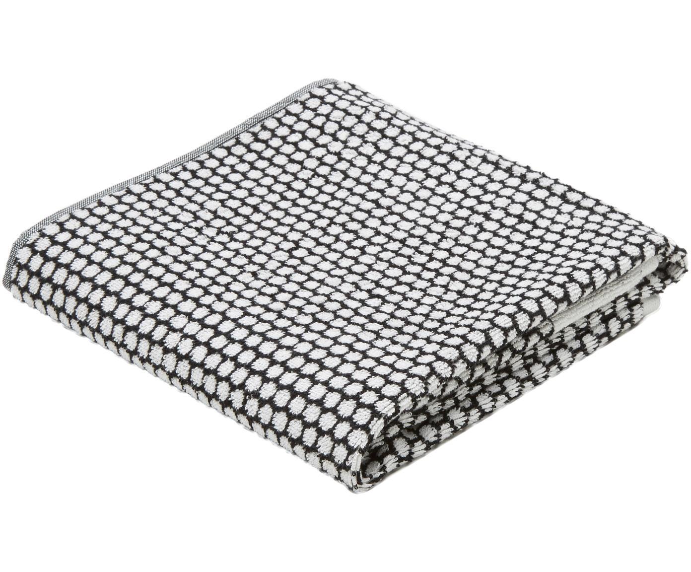 Gestippelde handdoek Grid, Katoen, middelzware kwaliteit, 540 g/m², Zwart, gebroken wit, Handdoek