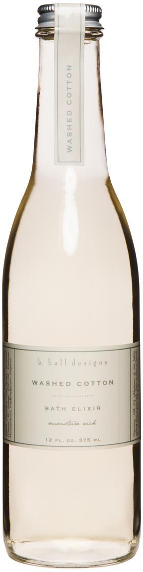Bade-Essenz Washed Cotton (Lavendel & Kamille), Behälter: Glas, Verschluss: Metall, Transparent, Ø 7 x H 24 cm